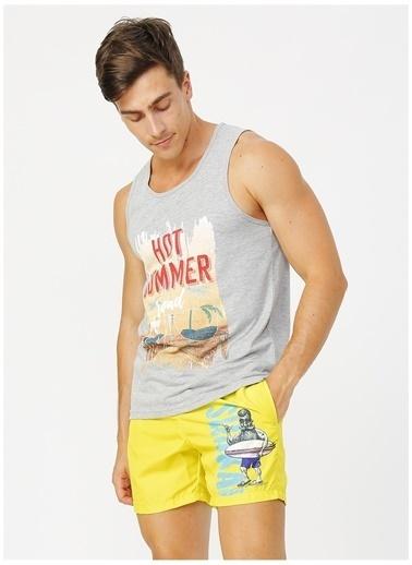 Limon Company Limon Surf Sarı Dijital Baskılı Erkek Şort Mayo Sarı